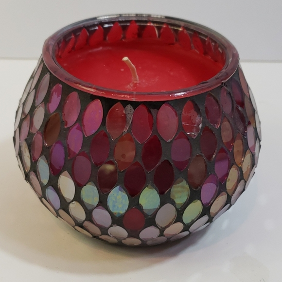 Mosaic Glass Holder with Wax
